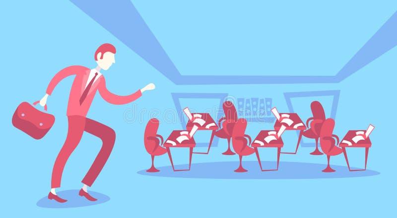 商人赶紧办公室工作区coworking的企业开放工作场所内部动画片家具膝上型计算机纸 向量例证