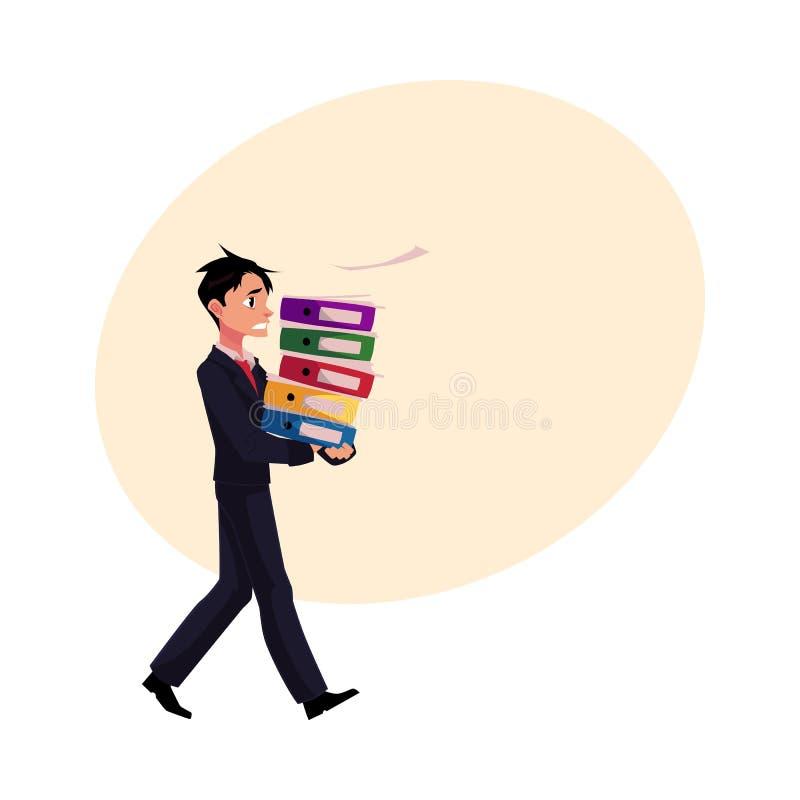 年轻商人超载与文件文件夹,紧张,在仓促 库存例证