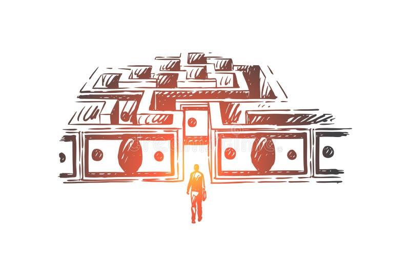 商人输入的金钱迷宫,股票市场贸易隐喻,现金迷宫,困难的企业挑战 向量例证