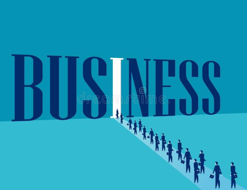 商人进入企业世界 概念企业vec 向量例证
