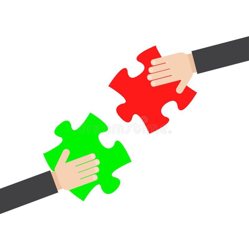 商人连接的难题元素的手,队工作 向量例证