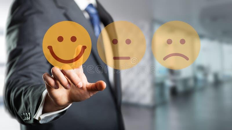 商人选择愉快的心情面带笑容 库存图片