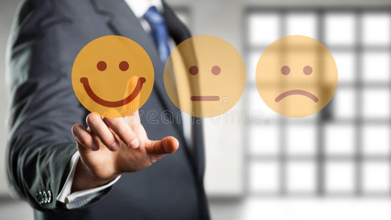 商人选择愉快的心情面带笑容 免版税库存照片
