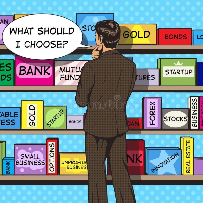 商人选择投资流行艺术传染媒介 库存例证