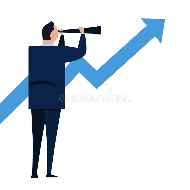 商人通过在成长箭头的一台望远镜看 视觉和成长概念 企业概念动画片例证 皇族释放例证