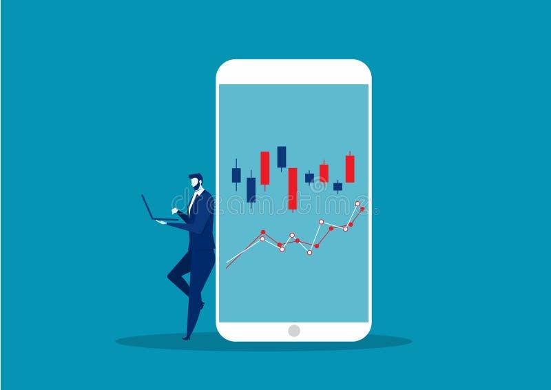 商人通过智能手机在证券交易所进行网上交易 库存照片