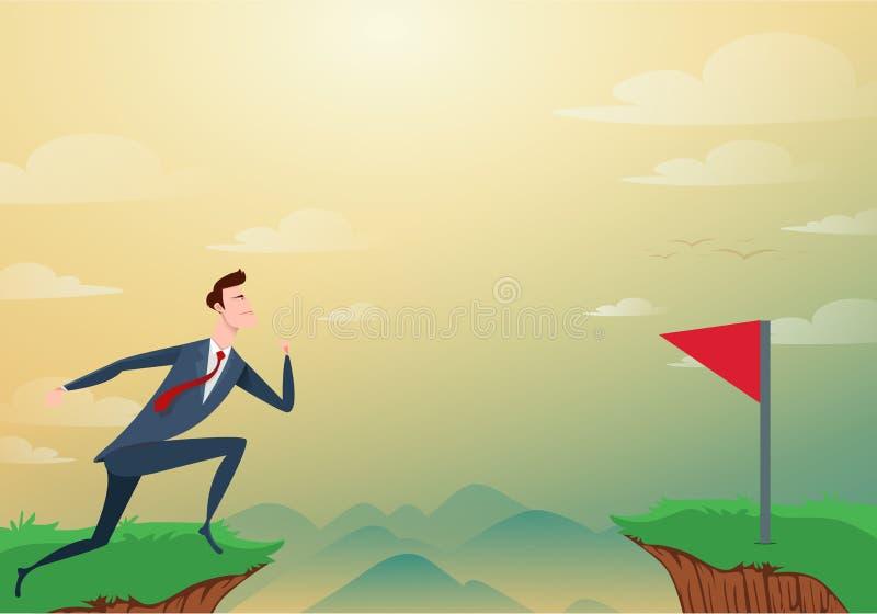 商人通过空白障碍跳在对红旗的小山和成功之间 在峭壁的跑和跃迁 事务 皇族释放例证