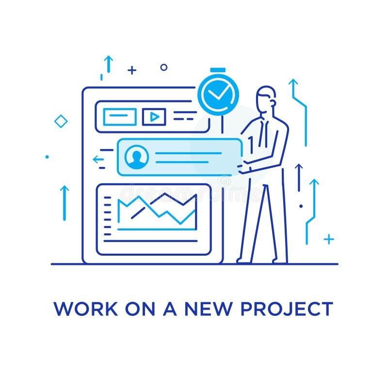 商人配置组织者,项目计划 工作流,成长,图表 业务发展,里程碑 向量例证