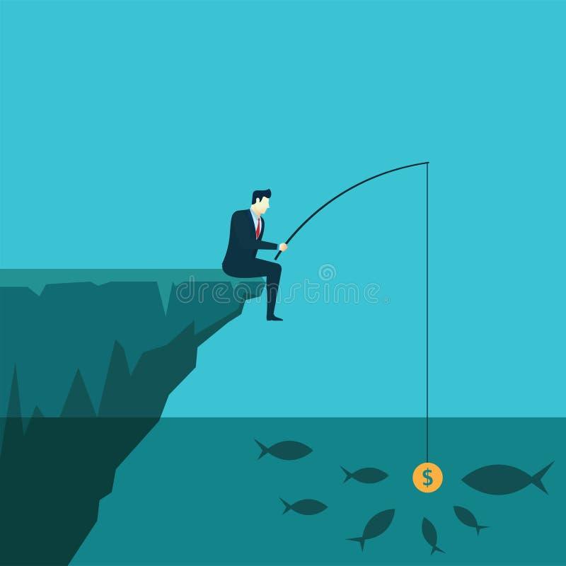 商人钓鱼与金钱的概念例证 库存例证