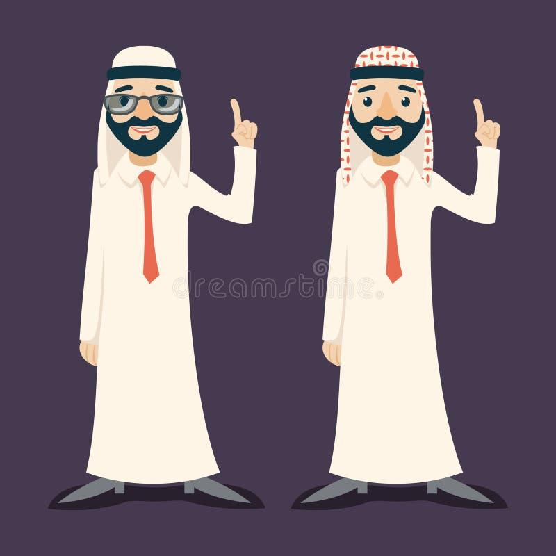 商人销售展示漫画人物阿拉伯传统全国穆斯林的指点给白板穿衣 向量例证
