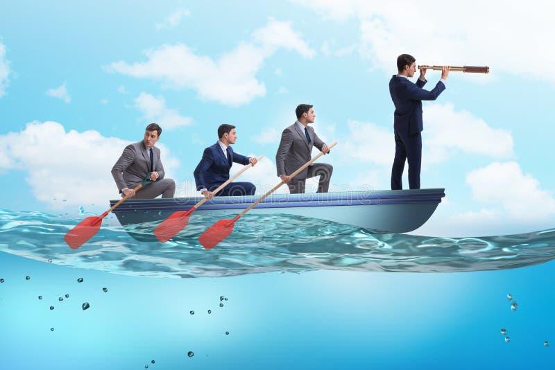 商人队在配合概念的与小船 库存例证