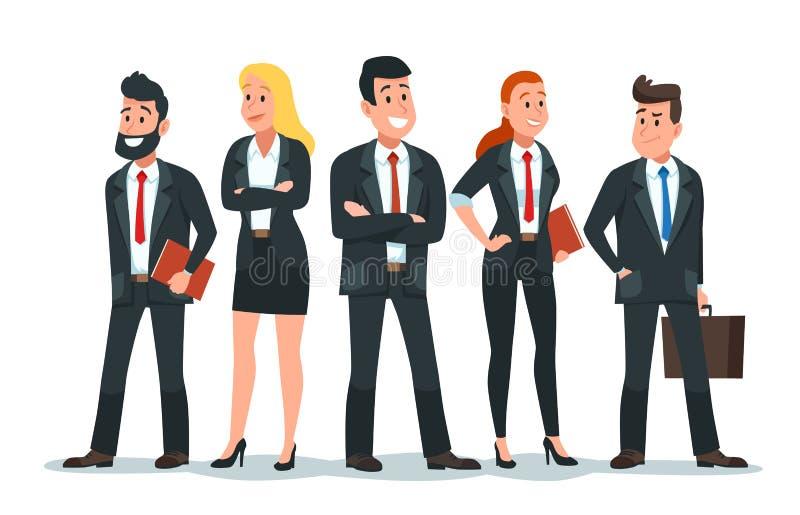 商人队 办公室配合、专业财务工作者小组和商人字符传染媒介动画片 库存例证