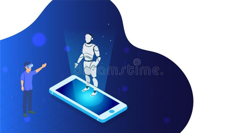 商人陈列介绍有人的特点的机器人的例证通过由智能手机的VR玻璃 向量例证