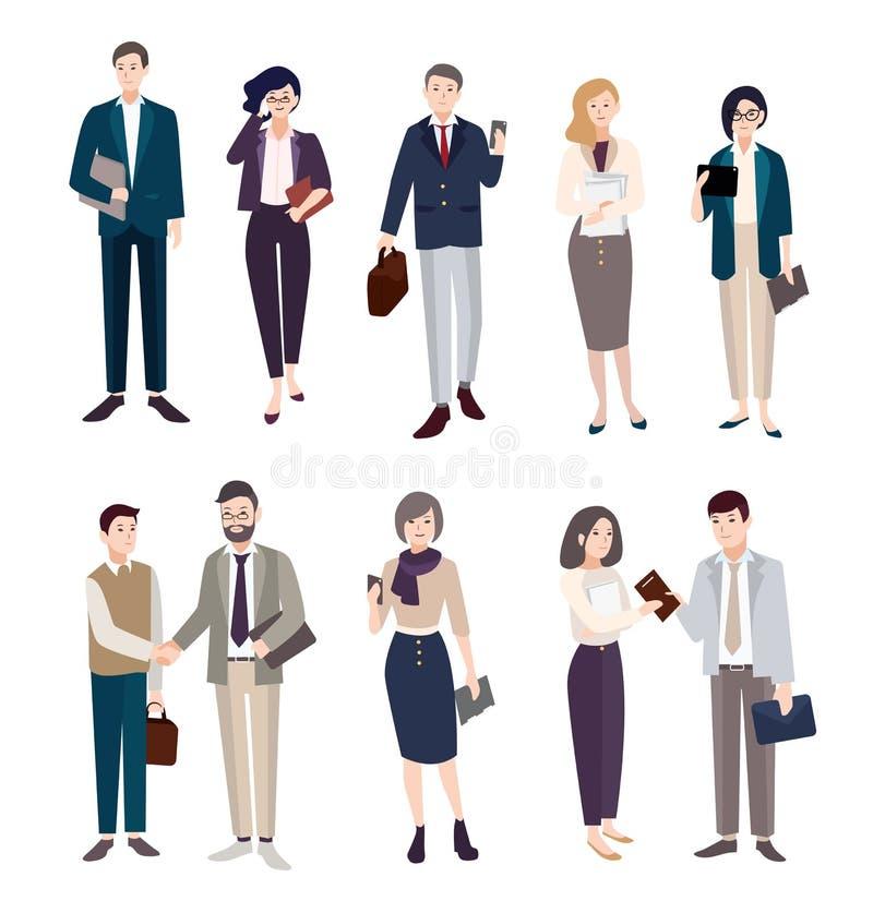 商人集 男人和妇女办公室cliothes的 五颜六色的平的例证 库存例证