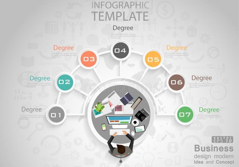 商人顶视图工作场所程度成功设计现代想法和概念导航例证与世界的Infographic模板 皇族释放例证
