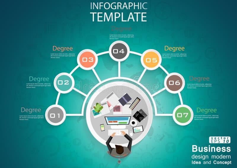 商人顶视图工作场所程度成功设计现代想法和概念导航例证与世界的Infographic模板 库存例证