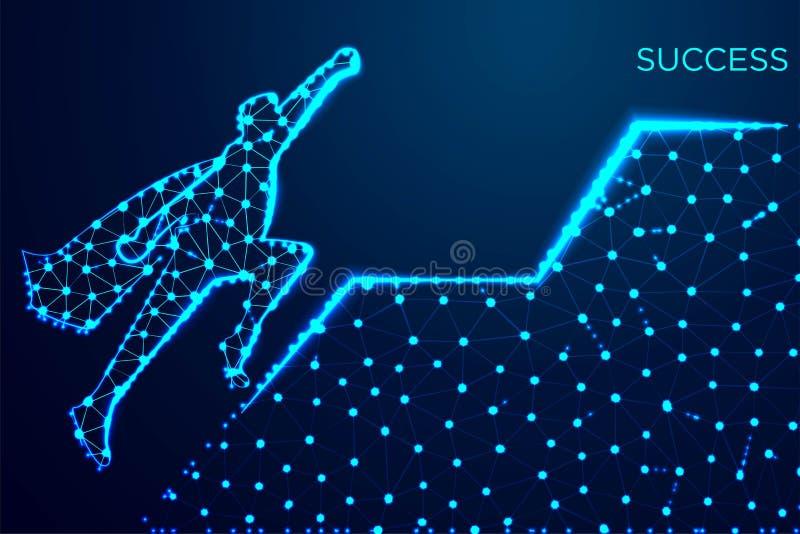 商人飞行 领导和企业成长概念 抽象wireframe设计 从连接的小点和线 ?? 皇族释放例证