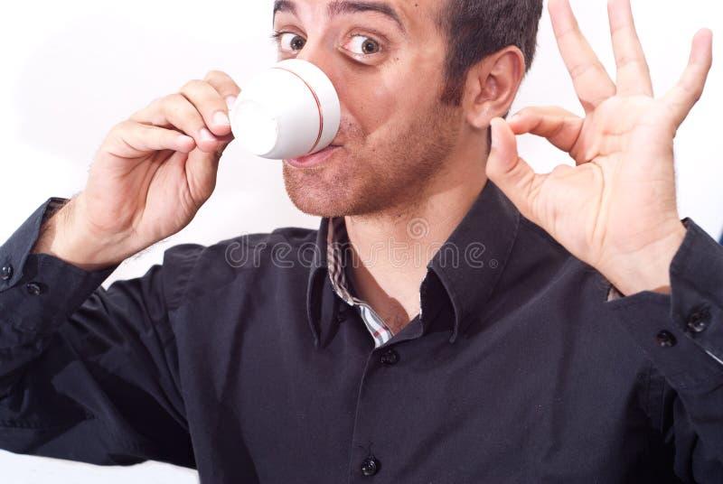 商人饮用的咖啡 免版税库存照片