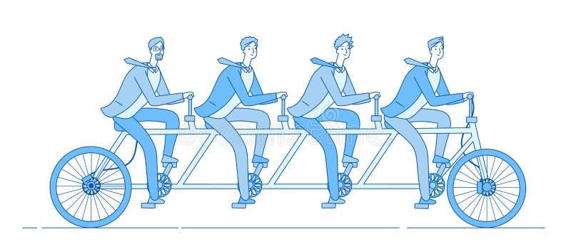 商人骑自行车 合作,队一起骑马自行车 配合企业合作和领导线 库存例证