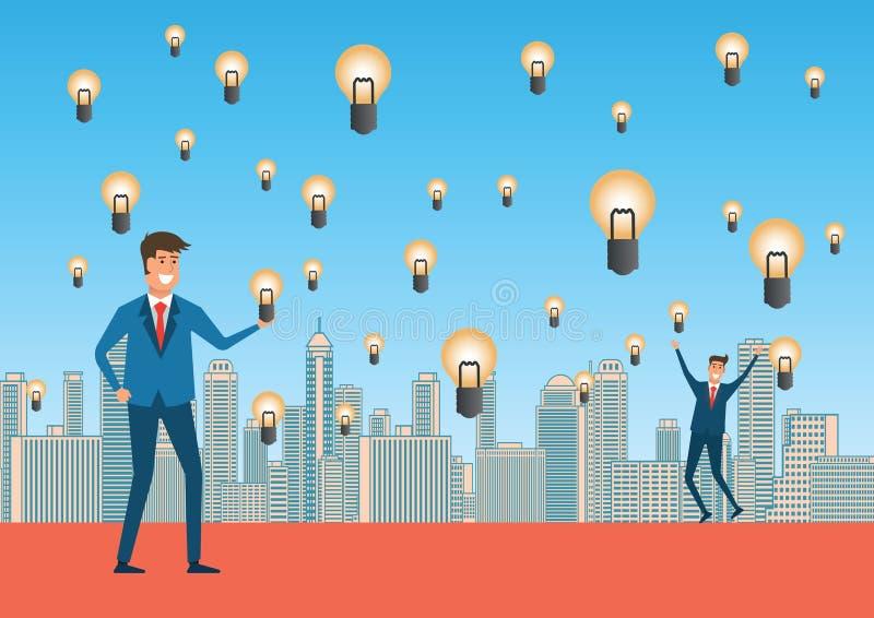 商人高兴与想法雨充分意味想法,创造性和 向量例证