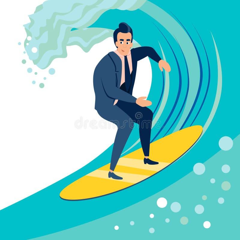 商人,一个人捉住在水橇板的波浪 r r 库存例证