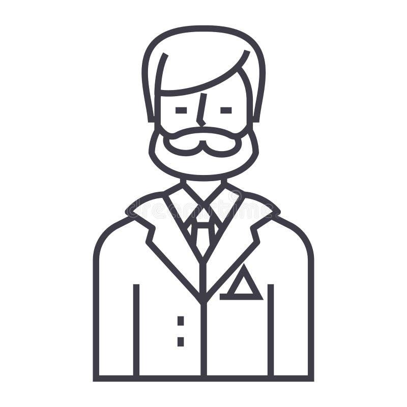商人,企业律师,法律顾问传染媒介线象,标志,在背景,编辑可能的冲程的例证 皇族释放例证