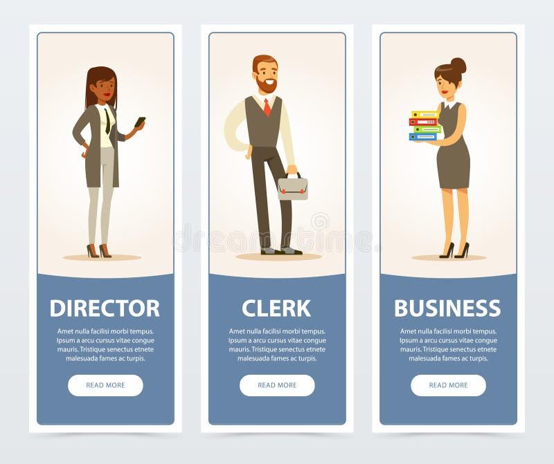 商人,公司职员,宣传手册的,增进传单海报,平的介绍企业横幅 皇族释放例证