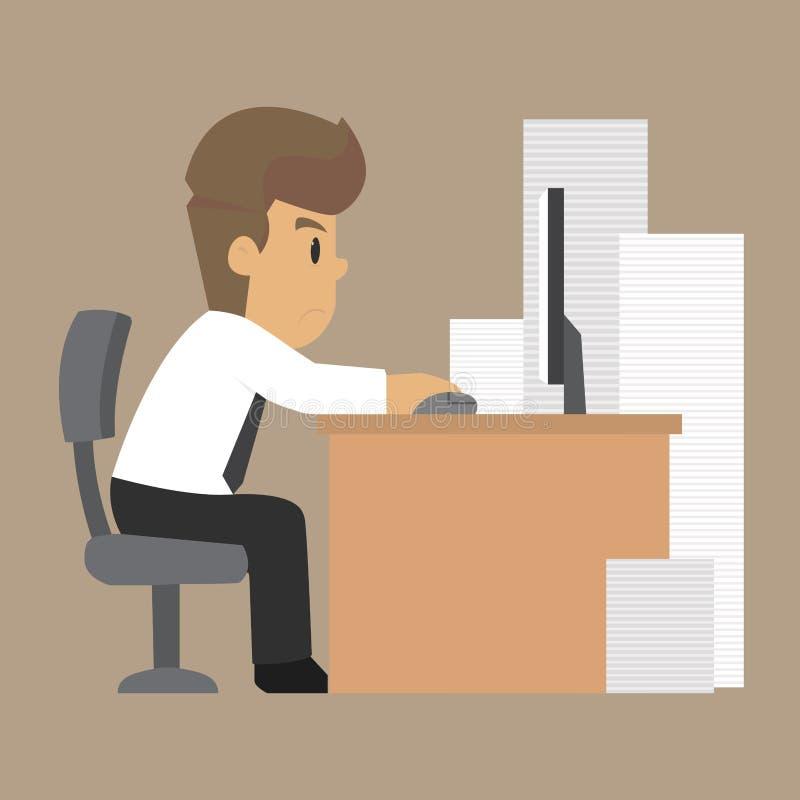 商人,努力工作,在工作坚持 向量例证