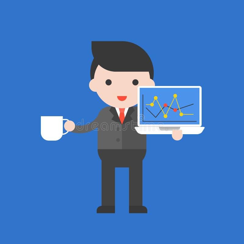 商人,股票交易商,逗人喜爱的字符专业集合,平展 向量例证