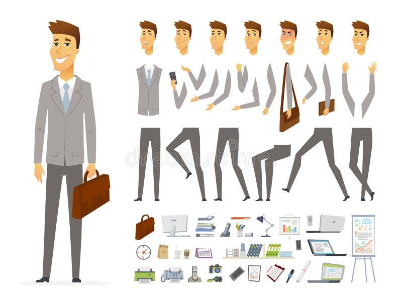 商人-传染媒介动画片人字符建设者 向量例证