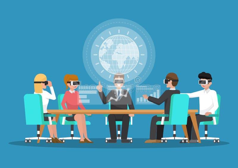 商人戴在虚拟现实会议的vr眼镜 向量例证