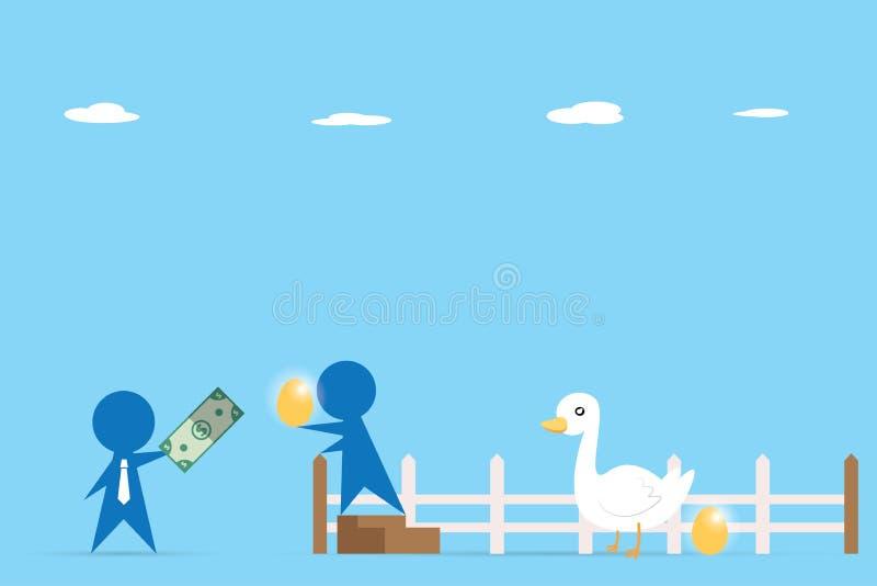 商人贸易的金钱和金黄鸡蛋从鹅,企业概念 库存例证