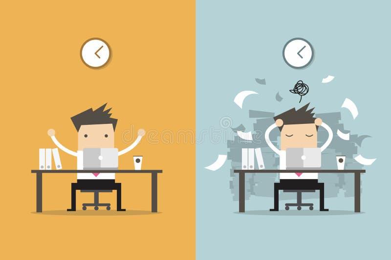 商人结束工作和繁忙的商人未完成的工作 库存例证