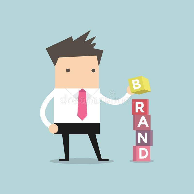 商人建立品牌立方体箱子难题 库存例证