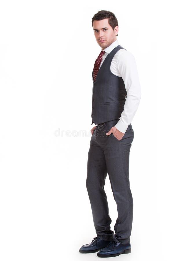 商人画象在灰色衣服的。 库存照片