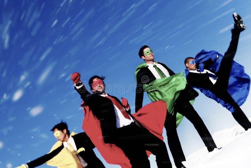 商人Superheros启发领导成功概念 库存照片