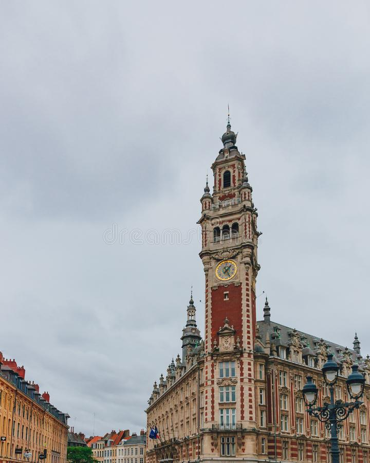 商会的钟楼在街市里尔,法国 免版税库存图片
