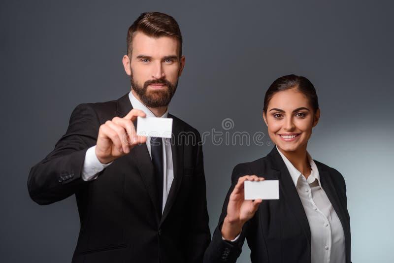 商务伙伴给参观卡片 免版税图库摄影