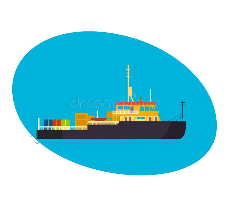 商务和乘客货船,与货物在船上 库存例证