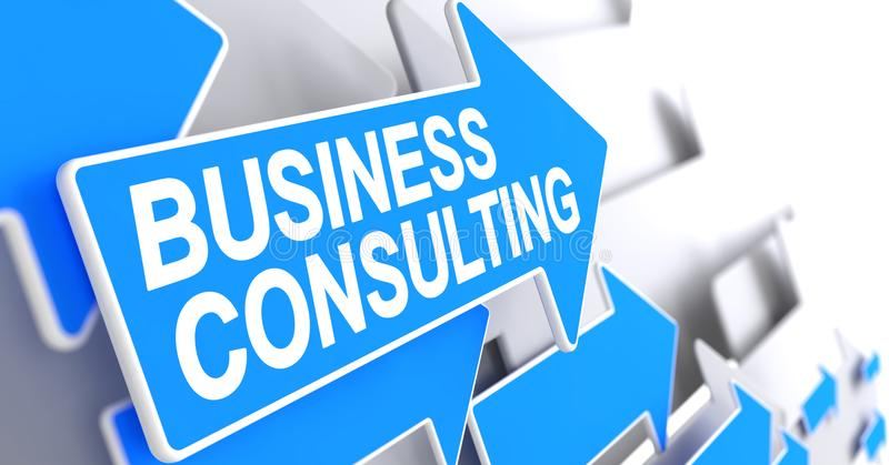 商务咨询-在蓝色尖的文本 3d 向量例证