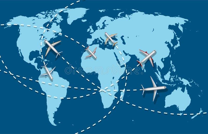 商务旅行横幅有飞机和世界地图背景 infographic世界目的地旅行概念 向量 皇族释放例证