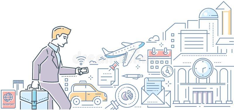 商务旅行-现代线设计样式例证 向量例证