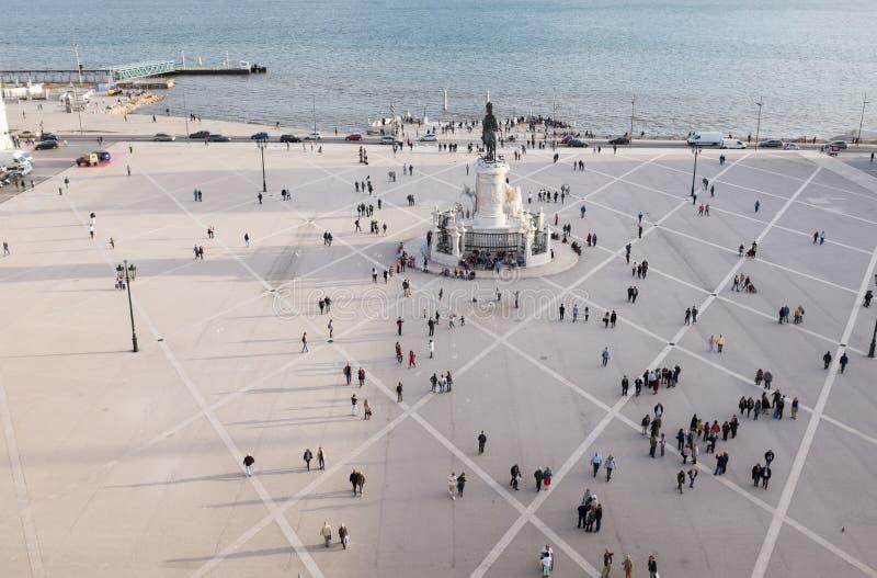 商务正方形鸟瞰图- Praca在里斯本做commercio 库存照片