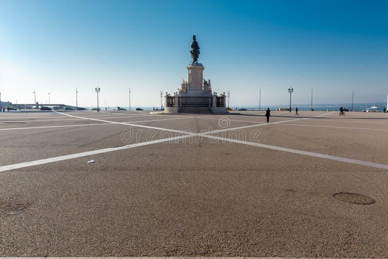商务正方形 comercio i jose里斯本葡萄牙国王praca雕象 库存照片
