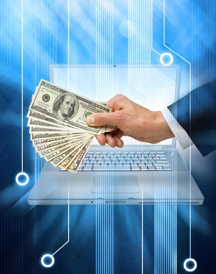 商务计算机互联网货币 库存图片