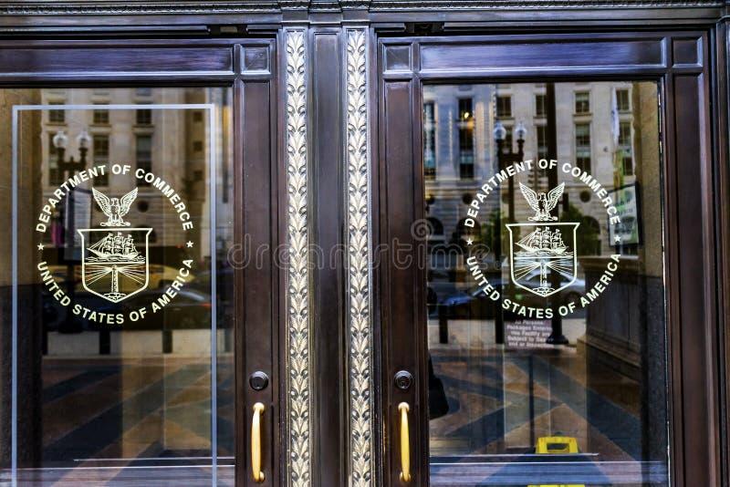 商务部Synbols赫伯特・胡佛大厦华盛顿特区 库存图片