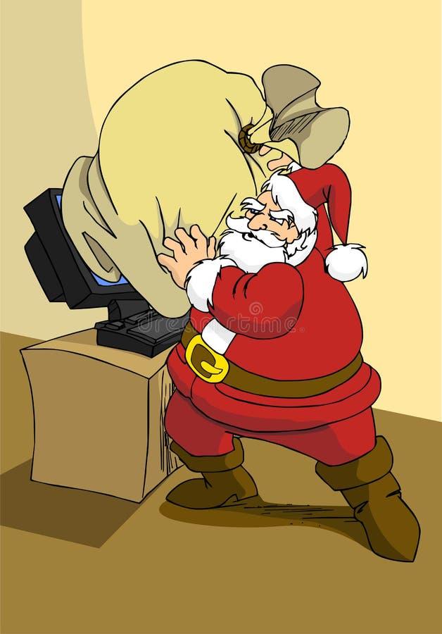 商务e礼品圣诞老人通过万维网xmas发送Ŀ 库存例证