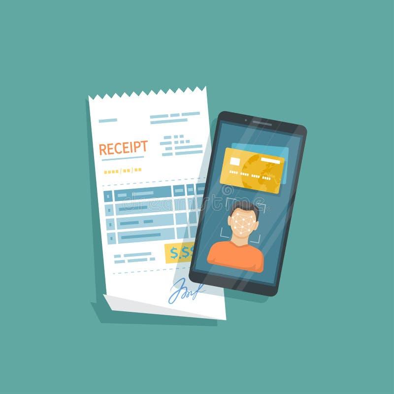 商品和服务的付款使用面貌识别和证明,在智能手机的面孔ID 网上票据付款通过电话 皇族释放例证
