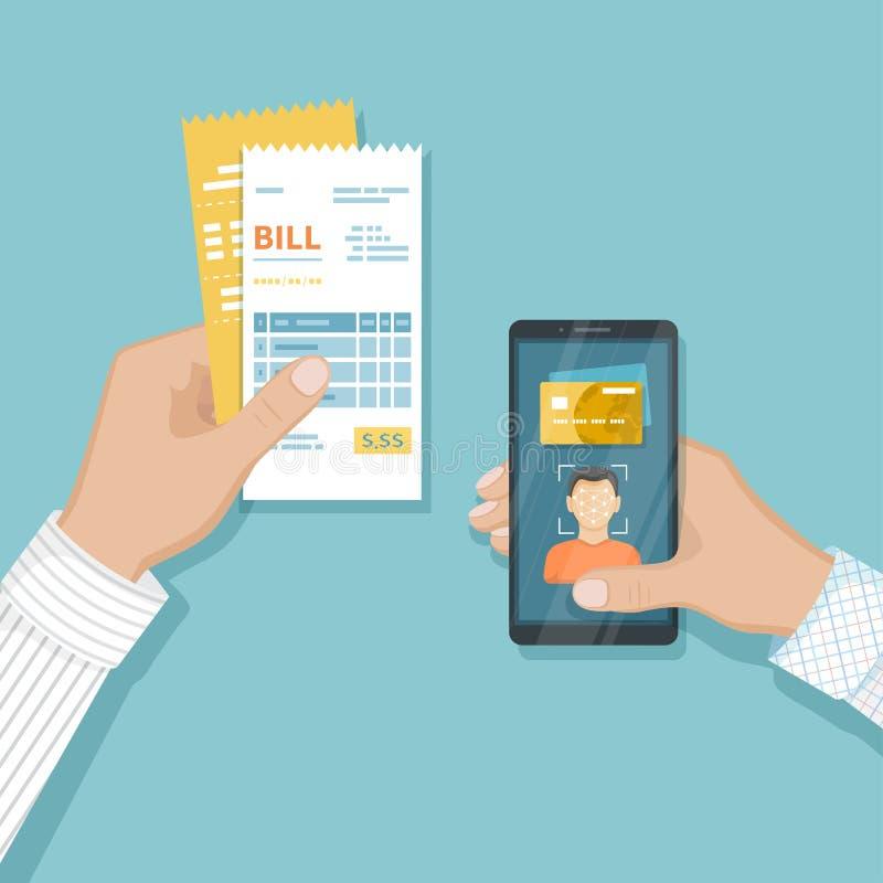 商品和服务的付款使用面貌识别和证明,在智能手机的面孔ID 网上票据付款通过电话 库存例证