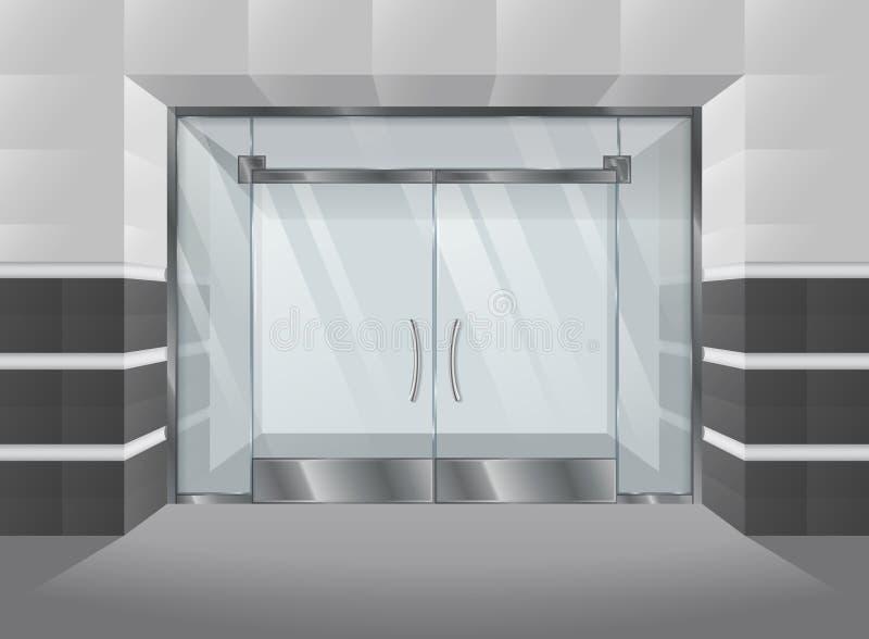 商城现实门面与玻璃门和窗口的 也corel凹道例证向量 向量例证